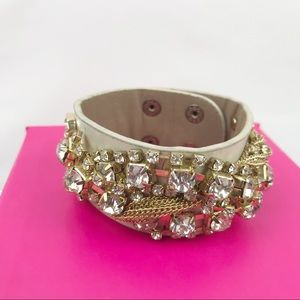Women's Beige Rhinestone and Chain Cuff Bracelet